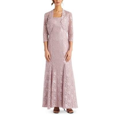 アールアンドエムリチャーズ ワンピース トップス レディース Petite Lace Gown & Bolero Blush