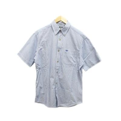 【中古】ドッカーズ DOCKERS Levi's シャツ ギンガムチェック 半袖 ボタンダウン ロゴ刺繍 M 青 ブルー 白 ホワイト メンズ 【ベクトル 古着】