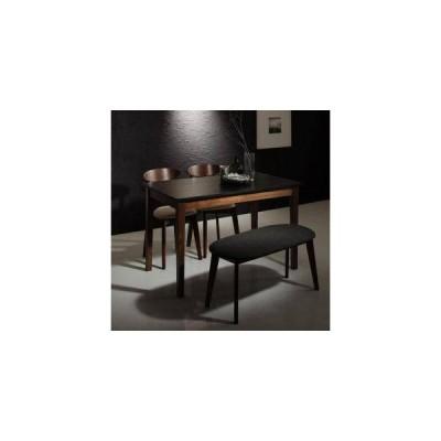 ダイニングテーブルセット 4人用 椅子 ベンチ おしゃれ 北欧 食卓 4点 ( 机+チェア2+長椅子1 ) 黒×ウォールナット 幅115 デザイナーズ スタイリッシュ パイン