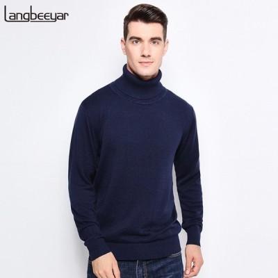New Autumn Winter Brand Clothing メンズ's Sweaters Warm Slim Fit Turtleneck メンズ Pullo