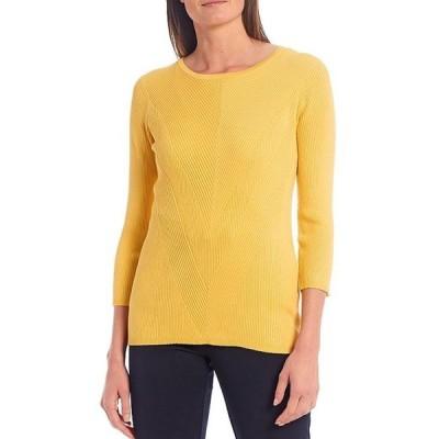 インベストメンツ レディース Tシャツ トップス 3/4 Sleeve Ribbed Crew Neck Sweater