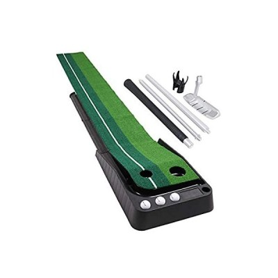 HOW TRUE ゴルフパッティンググリーン パッティングマット オートボールリターン付き 室内合成芝 ミニ練習グリーン パター付き オフィス 自宅用