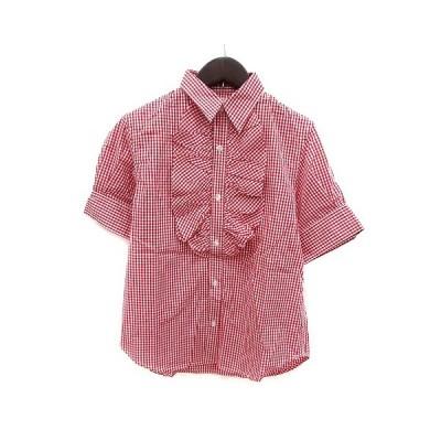 【中古】ビームスボーイ BEAMS BOY シャツ ギンガムチェック フレア 半袖 赤 レッド 白 ホワイト /MS レディース 【ベクトル 古着】