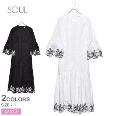 母の日 ソウル ワンピース レディース ドレス ホワイト 白 ブラック 黒 SOUL 30317 トップス シャツ ブラウス 刺繍 カジュアル エレガン