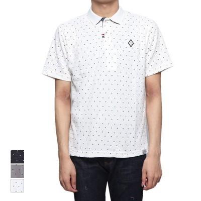 ポロシャツ 半袖 ドライ 鹿の子 ドット柄 刺繍  切替 2つボタン 2Bポロシャツ スポーツ トップス メンズ
