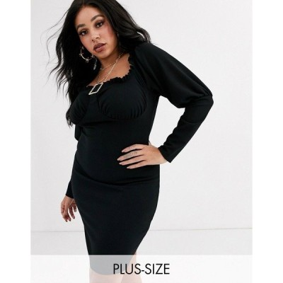 ミスガイデッド レディース ワンピース トップス Missguided Plus milkmaid mini dress with rhinestone buckle in black Black