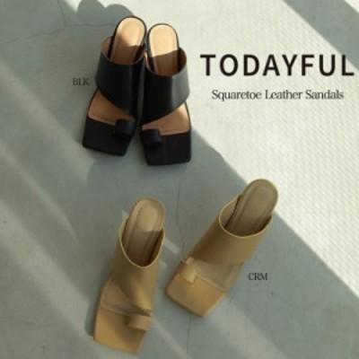 TODAYFUL 21夏予約 トゥデイフル シューズ(5月-6月入荷予約)Squaretoe Leather Sandals スクエアトゥレザーサンダル 12111039