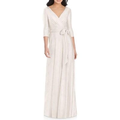 ドレッシーコレクション レディース ワンピース トップス Metallic 3/4-Sleeve Wrap Gown