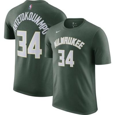 ナイキ Nike メンズ Tシャツ トップス Milwaukee Bucks Giannis Antetokounmpo #34 Green Cotton T-Shirt