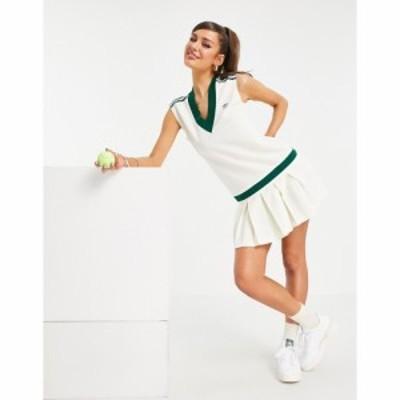 アディダス adidas Originals レディース ワンピース Vネック ワンピース・ドレス Tennis Luxe logo V neck pleated dress in off white
