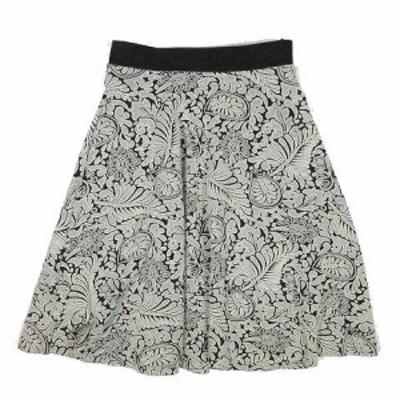 【中古】ビームス BEAMS ジャガード スカート ギャザー フレア ひざ丈 サイズ36 白×黒 ◎B4 レディース