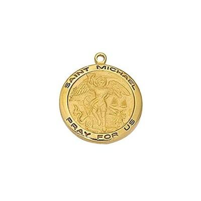 【新品】Bonyak Jewelry ゴールドメッキ スターリングシルバー 聖ミカエル 18インチ 金メッキ真鍮チェーンとデラックスギフトボックス−警察官、E