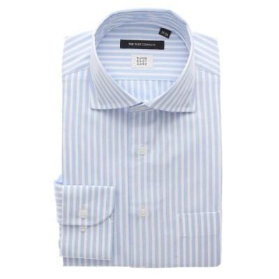 ドレスシャツ/長袖/メンズ/3BLOCK SHIRT/ホリゾンタルカラードレスシャツ ストライプ 〔EC・BASIC〕 サックスブルー×ホワイト