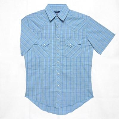ゆうパケ可 ラングラー 半袖 ウエスタンシャツ メンズ ブルー チェック柄 シンプル シャツ MSS345