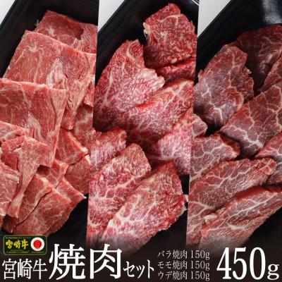 <宮崎牛>焼肉セット(バラ・モモ・ウデ)合計450g ※90日以内に出荷