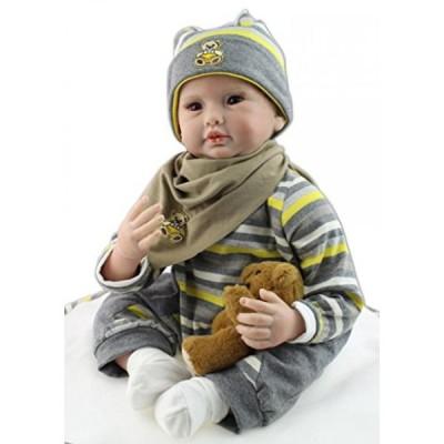 幼児用おもちゃ SanyDoll Reborn Baby Doll Soft Silicone vinyl 22inch 55cm Lovely Lifelike Cute Baby Boy Girl Toy Baby Bib