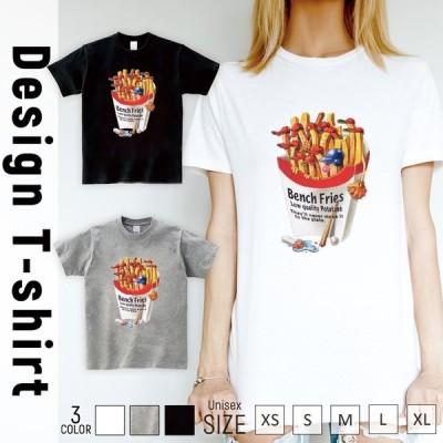Tシャツ レディース 半袖 トップス ブランド ユニセックス メンズ プリントTシャツ フレンチフライ ベンチ 野球 ベースボール