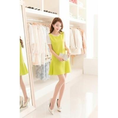 春夏 新作 ドレス ワンピース ウエストリボン パーティ着痩せ 無地 可愛い ファッション LDJ028