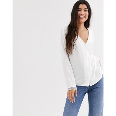 ピンキー Pimkie レディース ブラウス・シャツ トップス button front blouse in white ホワイト