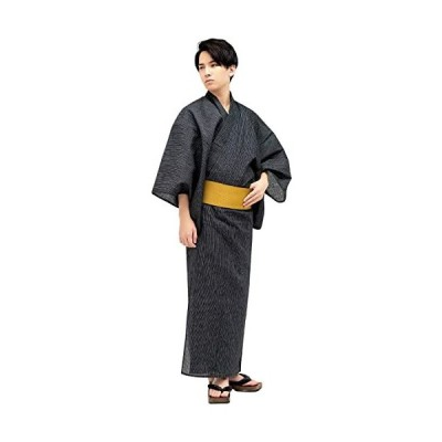 キョウエツ-浴衣セット-4点セット-浴衣、角帯、下駄、腰紐-C-1-細縞×黒
