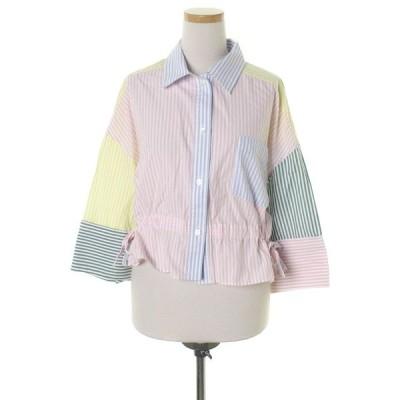 シャツ ブラウス ストライプ柄7分袖シャツ