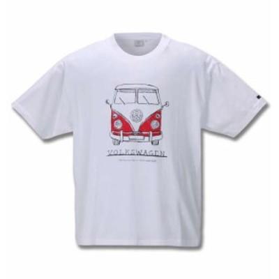 大きいサイズ メンズ VOLKSWAGEN 半袖 Tシャツ ホワイト 1268-0220-1 3L 4L 5L 6L 8L