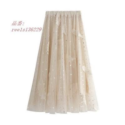 チュールスカート スカート春 スカート スカートコーデ ボスカート レディース ウエストゴム 可愛い マキシ丈スカート ふわふわ 体型カバー
