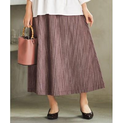 大きいサイズ 先染シャンブレーロング丈スカート(オトナスマイル) ,スマイルランド, スカート, plus size skirts