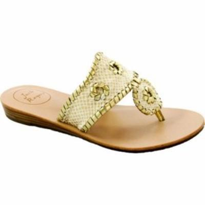 ジャックロジャース ビーチサンダル Capri Sandal White/Gold Sparkle Leather