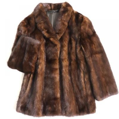極美品▼MINK ミンク 本毛皮コート ダークブラウン 大きめサイズ15号 毛質艶やか・柔らか◎
