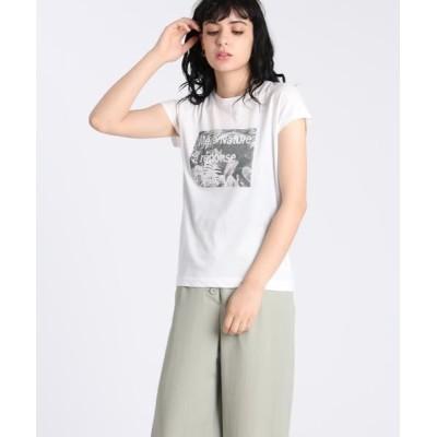 INED/イネド 《Maison de Beige》プリントロゴTシャツ《マシュふわ(R)》 オフホワイト1 09