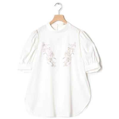 (w closet/ダブルクローゼット)刺繍スタンドカラー5分袖プルオーバー/レディース ホワイト