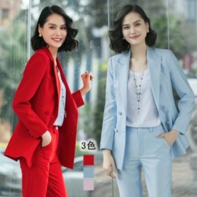 レディーススーツ ピンク パンツスーツ フォーマル 通勤 OL オフィス 大きいサイズ 2点セット テーラードジャケット 上品 ブルー 赤
