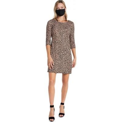 MSK レディース ワンピース シフトドレス ワンピース・ドレス Animal-Print Shift Dress & Face Mask Necklace Black