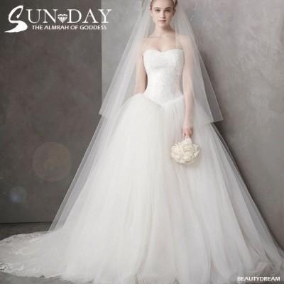 ウェディングドレス ウェディングドレス白 パーティードレス ビスチェタイプ 花嫁ロングドレス 結婚式 トレーンライン 二次会 エレガント お呼ばれ 挙式hs5478