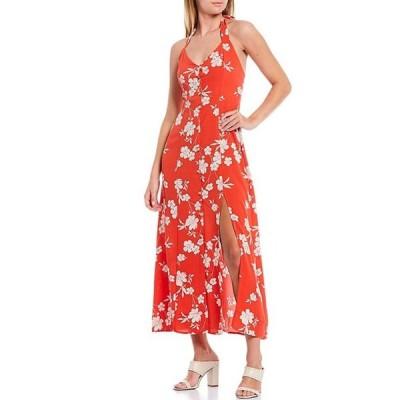 サンクチュアリー レディース ワンピース トップス Garden Floral Halter Neck Sleeveless Front Slit Midi Dress