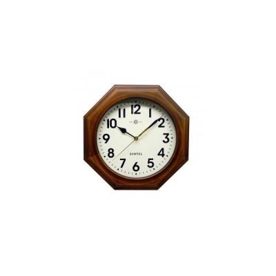 さんてる 日本製 天然木レトロ8角電波掛け時計 アンティークブラウン アラビア文字 DQL712BR-A