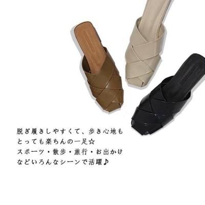 夏サンダル フリル ミュール サンダル レディース ビーチサンダル ペタンコ 歩きやすい スポサン フラット スリッパ 美脚