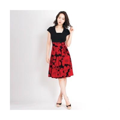 MARTHA(マーサ) レッドフラワースカートキャップスリーブカシュクールワンピース (ワンピース)Dress