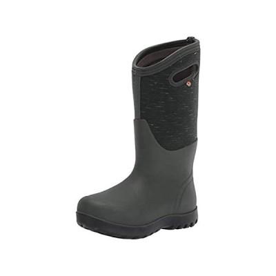 BOGS Womens Neo-Classic Tall Rain Boot, Melange Print-Dark Green, Size 10