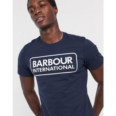 バブアー Barbour International メンズ Tシャツ トップス essential large logo t-shirt in navy ネイビー