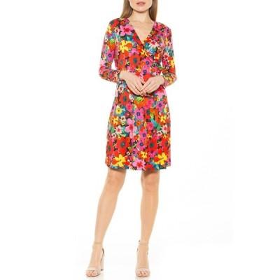 アレクシアアドマー レディース ワンピース トップス Amelia Studded Velvet Wrap Dress PINK MULTI