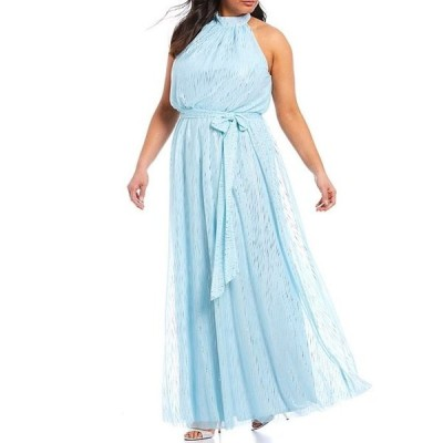 ジェシカハワード レディース ワンピース トップス Plus Size Halter Neck Blouson Tie Sash Metallic Chiffon Gown