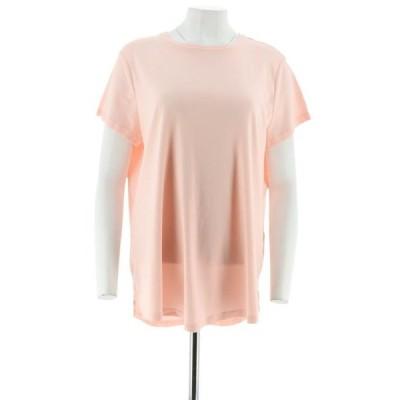 レディース 衣類 トップス Isaac Mizrahi Pima Cotton Curved Hem T-Shirt Women's A288195 ブラウス&シャツ