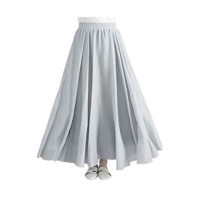 [エムエルーセ] ロングスカート プリーツ チュール ホワイト ロング シフォンスカート ヒザ 下 a ライン ユ?