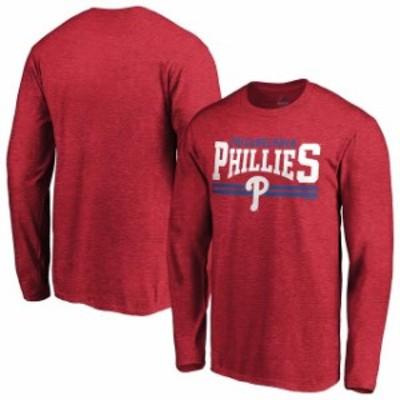 Majestic マジェスティック スポーツ用品  Majestic Philadelphia Phillies Red Bar None Long Sleeve T-Shirt