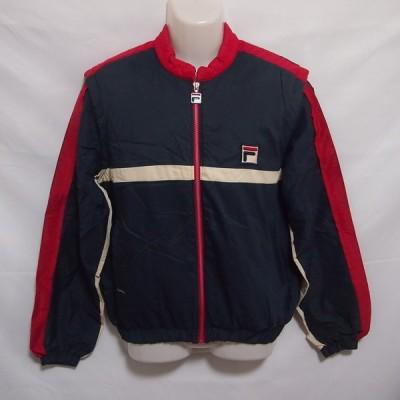 古着 メンズ3 FILA/フィラ 中綿 ウインドジャケット ブレーカー 防寒 観戦 移動 ネイビー