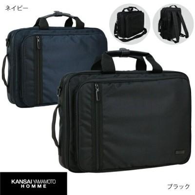KANSAI YAMAMOTO HOMME カンサイヤマモトオム 3WAYビジネスバッグ PCバッグ B4 バックパック 05-26 山本寛斎 ブラック ネイビー 就活