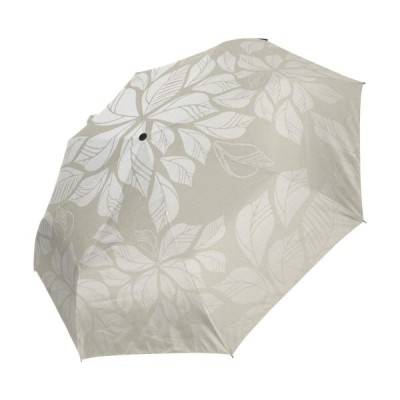 マキク(MAKIKU)折りたたみ傘 ワンタッチ自動開閉 黒い裏地 UVカット 花柄 模様 葉柄 リーフ ホワイト 頑丈な8本骨 耐風 撥水