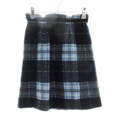 【中古】ミッシュマッシュ MISCH MASCH スカート タイト ミニ ウール チェック 36 紺 ネイビー /CK レディース